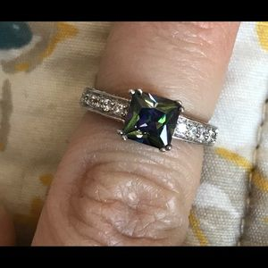 Fire topaz CZ sterling silver ring